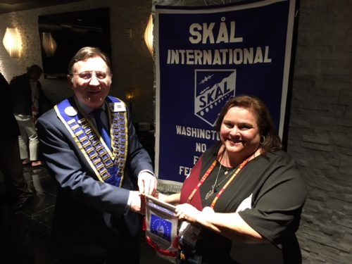 Skal New Orleans member Denise Thevenot is welcomed by Skal Washington DC President James Enright